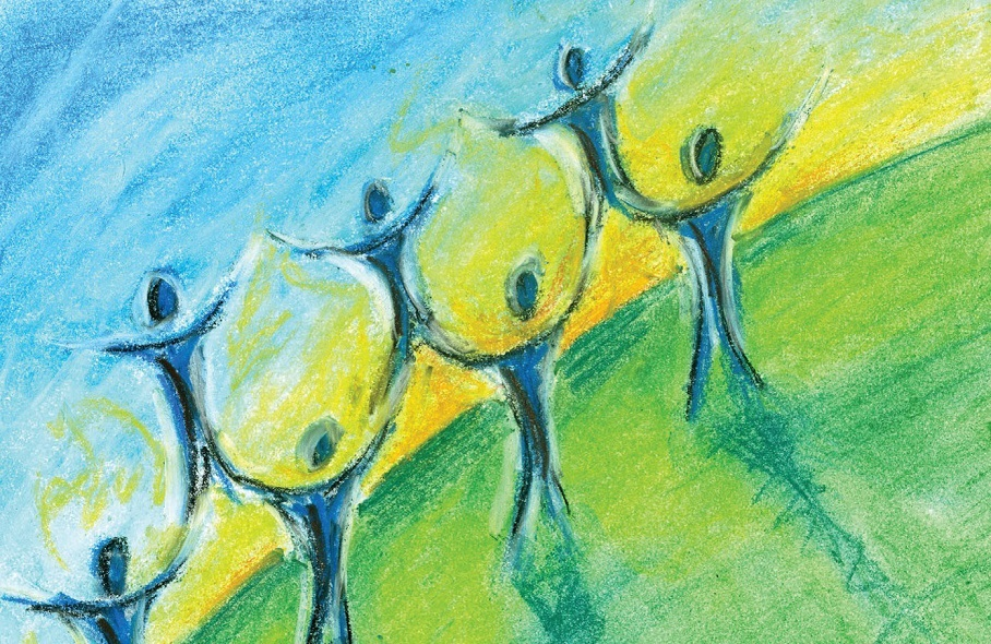 Seven human figures standing against a green, yellow, and blue background. All seven figures are holding their arms upwards.