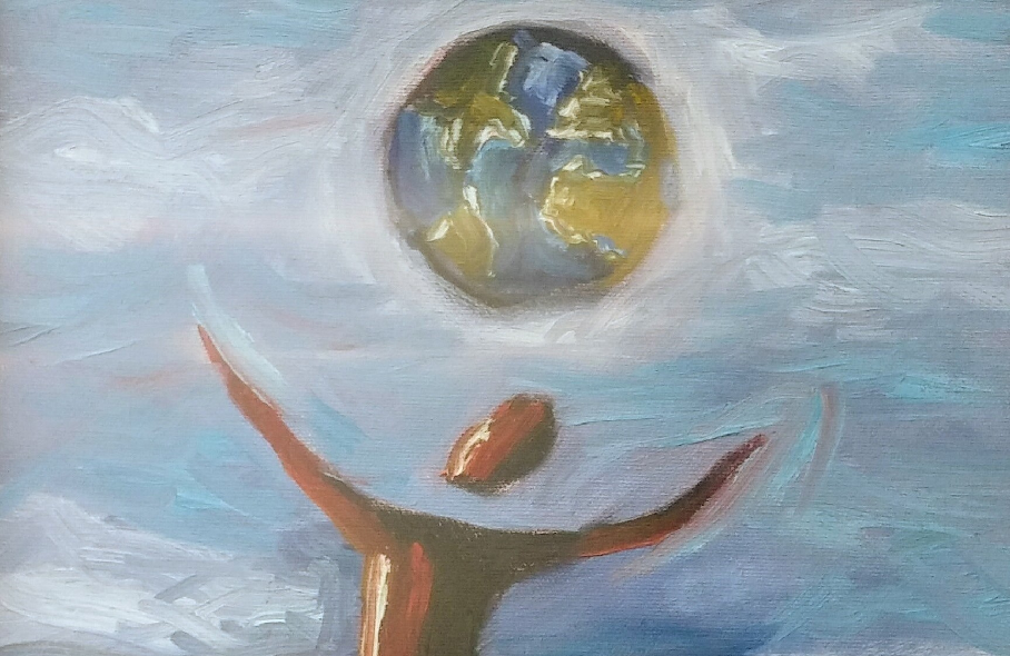 Painting of person and Earth