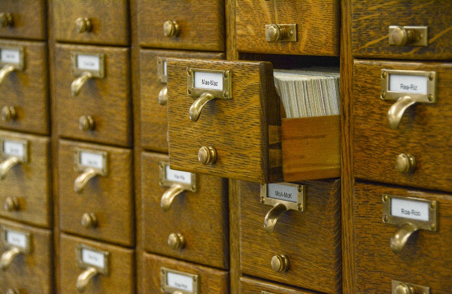 death notice index card catalog