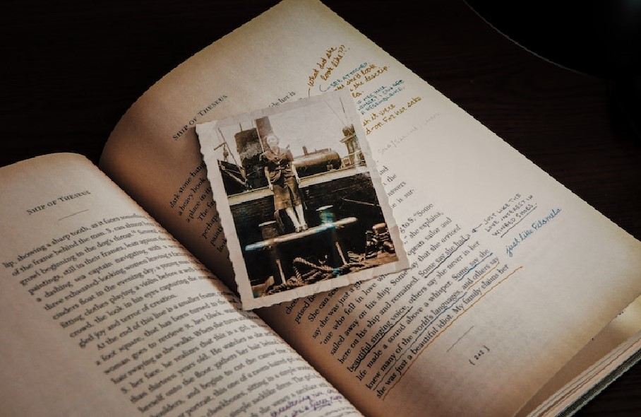image of an old photograph on a book