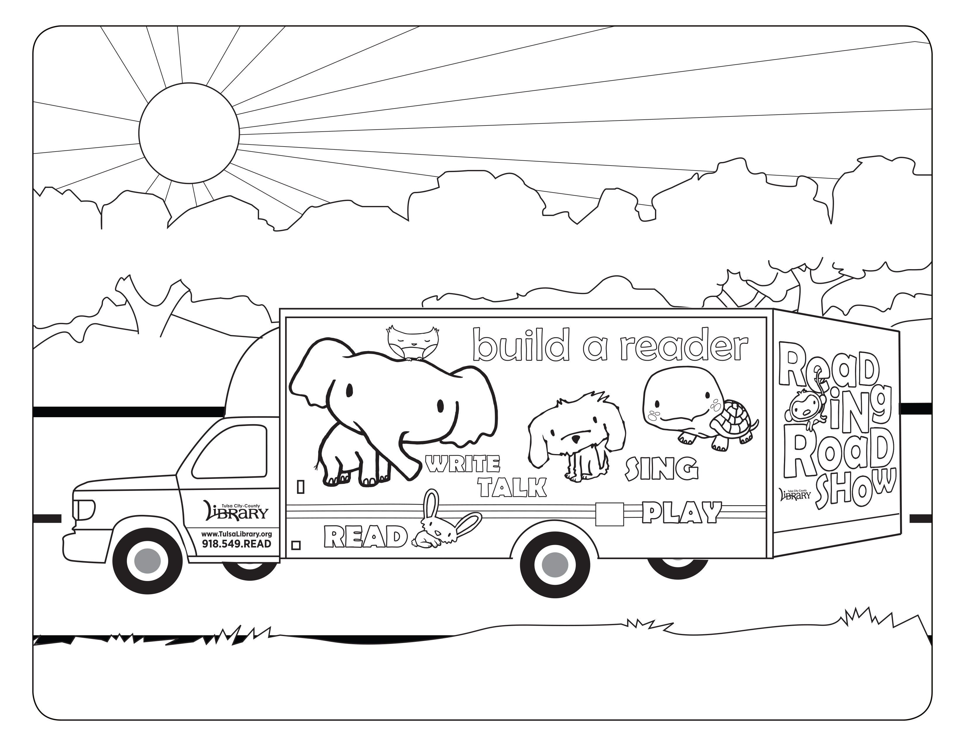Reading Roadshow Coloring Sheet