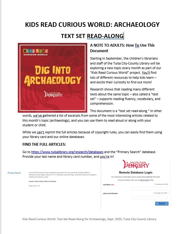 Text Set Read-Along Archaeology