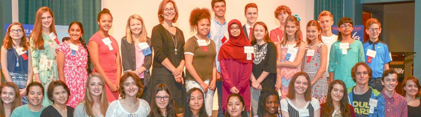 Pam Munoz Ryan with the winners of the 2018 Young People's Creative Writing Contest