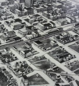 Aero View of Tulsa, 1918; drawn by T. M. Fowler; Oklahoma Historical Society Research Division