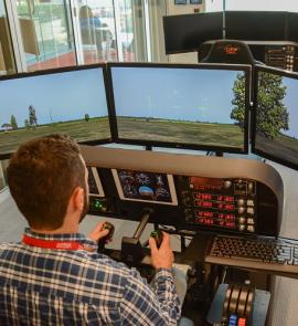 flight simulator available in digital literacy lab