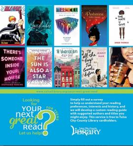 Ad for TCCL service Your Next Great Read for Teens