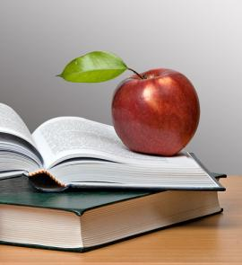 Apple sitting on an open book
