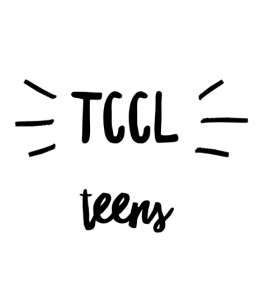 Black text on white background that reads TCCL teens
