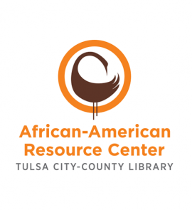 "TCCL African-American Resource Center logo. Illustration of a brown sankofa bird in a yellow circle with the words ""African American Resource Center: Tulsa City-County Library"" underneath."