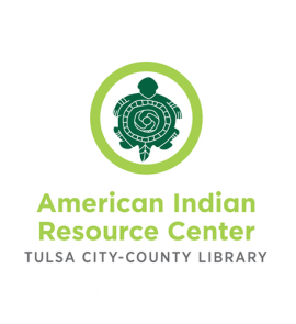"TCCL American Indian Resource Center logo. Illustration of a dark green turtle in a light green circle with the words ""American Indian Resource Center: Tulsa City-County Library"" underneath."
