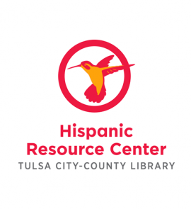 "TCCL Hispanic Resource Center logo. Illustration of a red and yellow hummingbird in a red circle with the words ""Hispanic Resource Center: Tulsa City-County Library"" underneath."