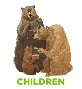 "Image of three fairy tale bears and word ""Children"""