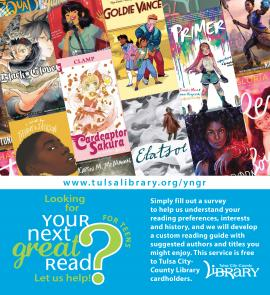 Ad for TCCL service Your Next Great Read for Teens, showing thumbnail images of covers of recent young adult books