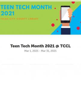 Promotional graphic for Teen Tech Month, with blue writing on a green and blue background, with an illustration of a hand holding up smartphone.